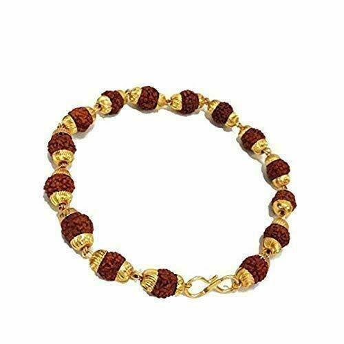 Rudraksha Rudraksh Bracelet With Gold Plated Cap For Stess Free Life Energized