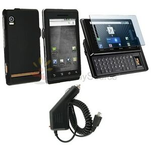 For Verizon Motorola Droid A855 Black Hard Cover Case+Car Charger+LCD Film Guard