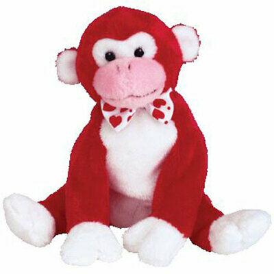 TY Beanie Baby - VALENTINE the Monkey (6 inch) - MWMTs Stuffed Animal Toy
