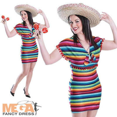 Mexican Poncho Dress Ladies Fancy Dress National Western Adults Costume Outfit (National Fancy Dress Kostüm)