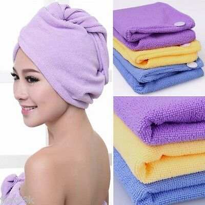 4 Pc Microfiber Hair Wrap Towel Drying Bath Spa Head Cap Turban Twist Dry Shower