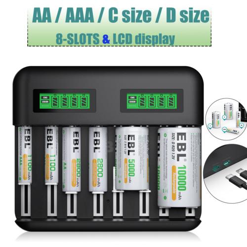 8 Slot Akku Ladegerät Für 1000-8000mAh DC/AA/AAA Akkus Nimh Batterie Universal