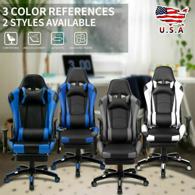 Racing Office Gaming Chair High Back Leather Ergonomic 360 Swivel Lying Recliner