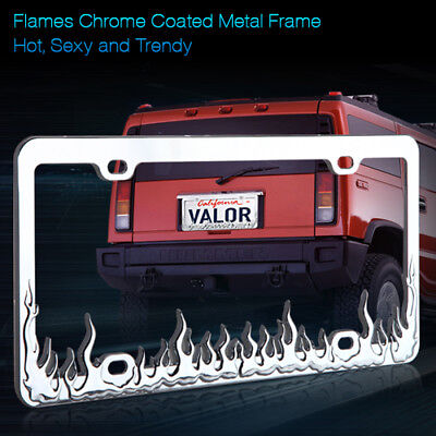Silver Coated Frame - New Fire Flame Silver Chrome Coated Metal License Plate Frame Cover (1 Piece)