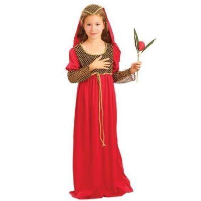 KIDS GIRLS SHAKESPEAR MEDIEVAL JULIET FANCY DRESS BOOK WEEK SIZE 4/15 YEARS - Shakespeare Juliet Kostüm