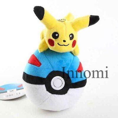 7 inches Pikachu Riding on Pokeball Pokemon Stuffed Animal Soft Plush Toy