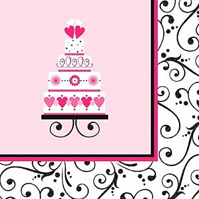 Sweet Wedding Cake Pink Scroll Bridal Shower Theme Party Paper Luncheon Napkins Bridal Shower Party Dessert Paper