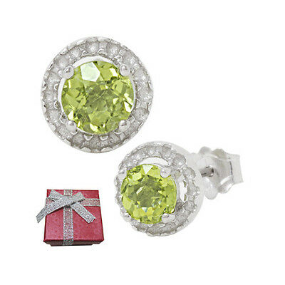 1.0ct Brilliant Round Peridot .925 Silver Stud Earrings August Birthstone Stud Earrings