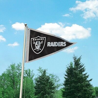 1 Sided NFL Oakland Raiders  Giant Pennant Flag.  Embroidered Applique 3' x 5'