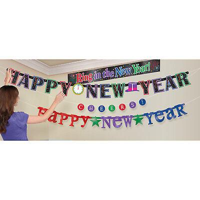 4 X Neu Jahr Banner Girlanden Partydekorationen Happy New Year Multi Banner Pack (Neue Jahr Banner)