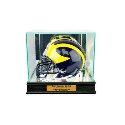 New Troy Aikman Dallas Cowboys Glass and Mirror Mini Helmet Display Case