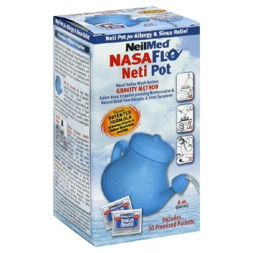 Nasal Sinus Rinse NasaFlo Neti Pot 50 saline packets