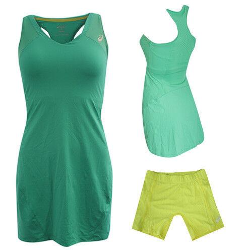 Asics MotionDry Athlete Green Yellow Womens Tennis Dress Sho