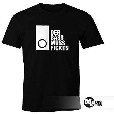Herren T-Shirt Techno Spruch Der Bass muss Ficken Party Festival Rave