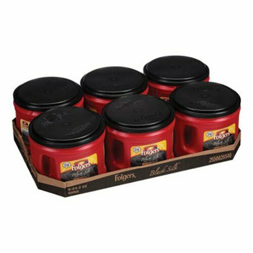 Folgers Coffee, Black Silk, 24.2 oz Canister, 6/Carton (FOL20540CT)