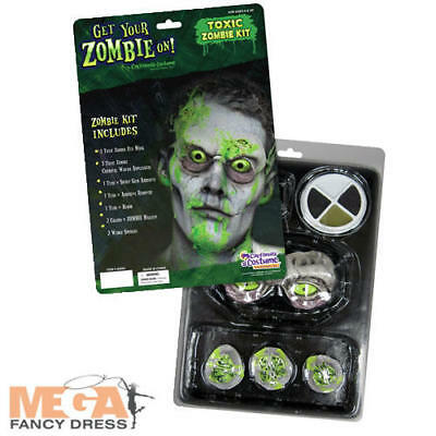 Toxic Zombie Mask & Makeup Kit Fancy Dress Adults Halloween Costume Accessory - Toxic Maske Kostüm