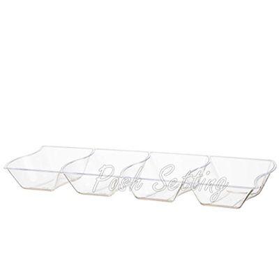 Posh Setting Crystal Clear, Premium Disposable Hard Plastic 4 Compartment, 5 x 1