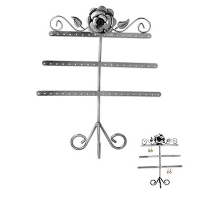 Rose Leaf 3-tier Antiqued Silver Steel Earring Tree Jewelry Display Stand