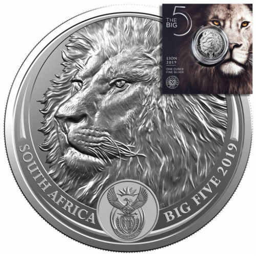 LION - SOUTH AFRICA BIG FIVE  2019 5 Rand 1 oz BU Silver Coin in Blistercard