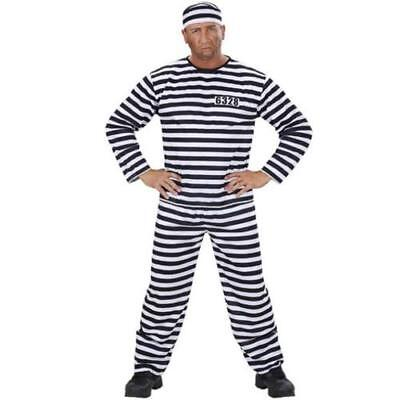 STRÄFLING HÄFTLING Gefangener Kostüm Herren, schwarz weiß S, M, L, - Herren Gefangener Kostüm