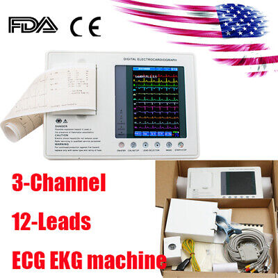 Us Fda Portable Ecg Machine Ekg Monitor Electrocardiograph 3-channel Lcd Display
