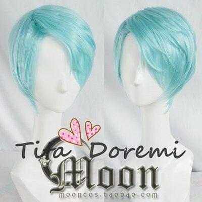 Halloween Perücke Cosplay Mystic Messenger V blue party fashion Kurze Haar ()
