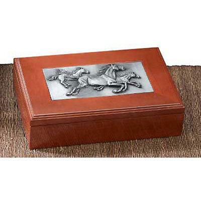 Running Horses Wood Trinket Box