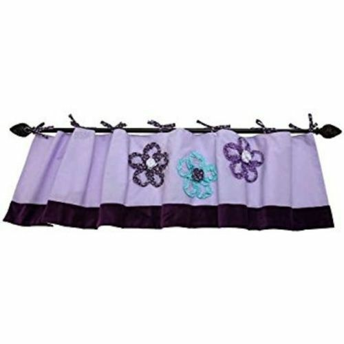 New NoJo ~ HARMONY ~ Window Valance Flower Floral  Applique Purple Garden Girl