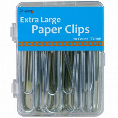 """PAPER CLIPS 3"""" x 1/2""""  20 Pc Giant Extra Large JUMBO Bookmark Wire Metal Silver"""