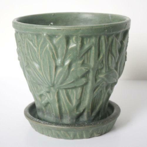 Mccoy Green Flower Pot Ebay