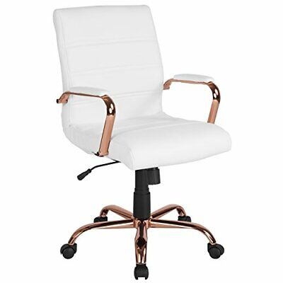 Mid-back White Leather Executive Swivel Chair With Rose Gold Frame And Arms
