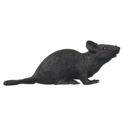 NEW Plastic/Rubber Squeaking Rat w/Red Eyes Halloween Decor/Prop ~ Rat - Red Eyes Halloween