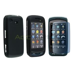 BLACK RUBBER HARD CASE COVER+LCD FILM GUARD FOR SAMSUNG AT&T IMPRESSION A877