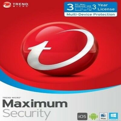 Trend Micro Maximum Security 12 (2018) | 3 Year Licence | 3 Devices