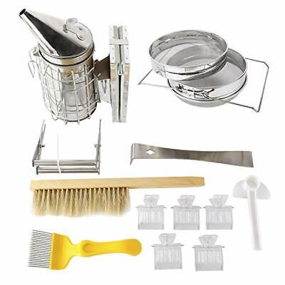 12pcs Beekeeping Tool Kit 1 Double Sieve Honey Strainers 1 Bee Hive Smoker