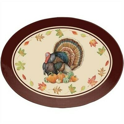 Fall Turkey Oval Plastic Serving Tray Thanksgiving Party Decorations Supplies