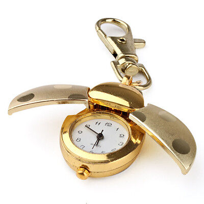 - Gold Quartz analogue Keychain Key Ring Watch Pendant Golden Ladybug Lady Bug