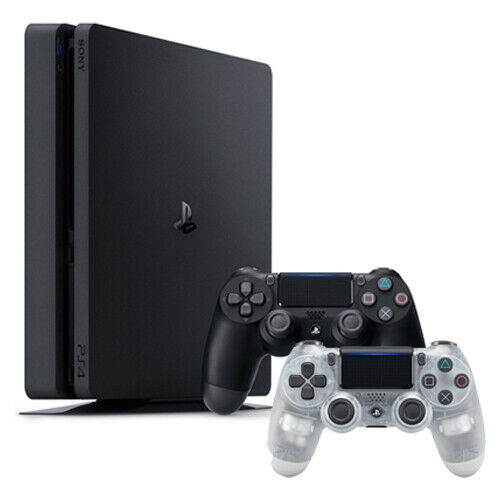 PlayStation 4 Slim 1TB Console + Extra DualShock 4 Wireless Controller - Crystal
