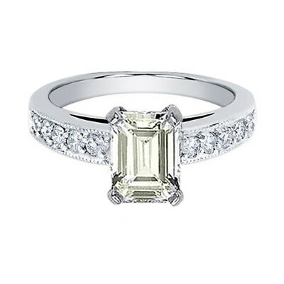 Flawless Emerald Cut GIA Certified Diamond Engagement Ring 3.25 Carat 18k Gold