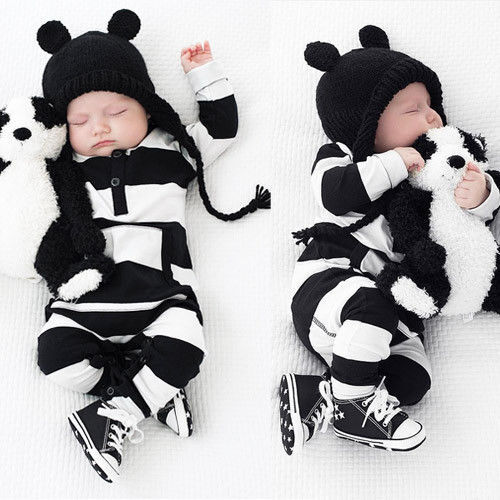 US Seller Kid Baby Boy Girl Knitting Wool Romper Bodysuit Jumpsuit Outfits Set