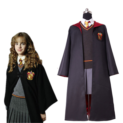 Harry Potter Hermione Granger Cosplay Costume Gryffindor School Kid Adult Size