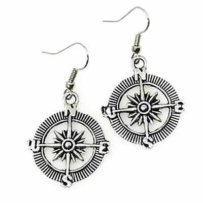 Steampunk Pirate Gothic earrings jewelry costume accessories compass pendant