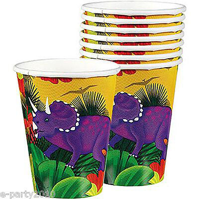 DINOSAUR PREHISTORIC PARTY 9oz PAPER CUPS (8) ~ Birthday Supplies Beverage Drink - Prehistoric Party Supplies
