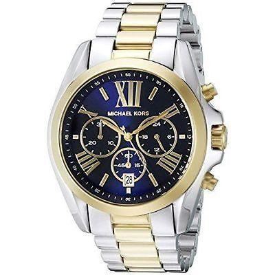 New Michael Kors MK5976 Bradshaw Gold Silver Navy Chrono Ladies Women 43mm Watch
