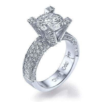 2 1/5 CT D SI1 ROUND CUT DIAMOND ENGAGEMENT RING 14K WHITE GOLD SOLITAIRE 9064