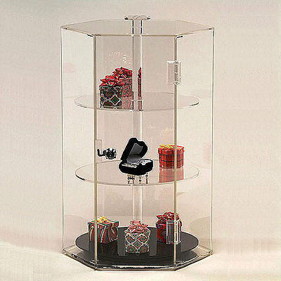 Acrylic Countertop Revolving Showcase Hexagonal W 3 Shelves 12 X 18 14h