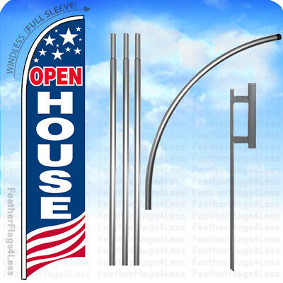 Open House - Windless Swooper Flag 15 Kit Feather Banner Sign - Usa Bb