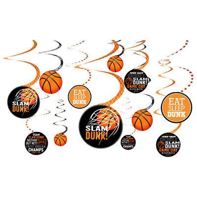 Basketball Birthday Decorations (BASKETBALL Nothin But Net HANGING SWIRL DECORATIONS (12) ~ Birthday)