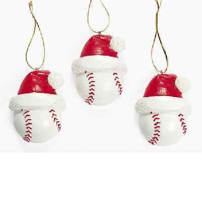 Resin Baseball Ornaments 3 Piece Christmas Party