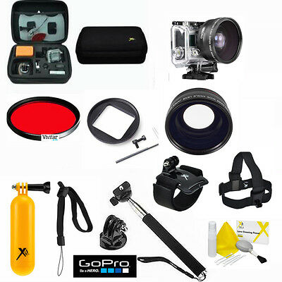 GOPRO HERO4 White SCUBA DIVING KIT HEAD MOUNT/CASE/RED Ooze/ WIDE ANGLE LENS